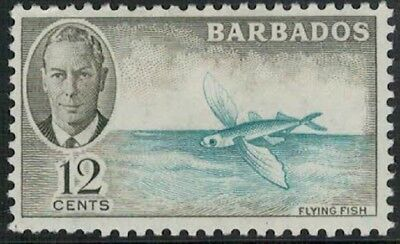 Lot 4502 - Barbados –  1950 12c blue and olive King George VI mint hinged stamp