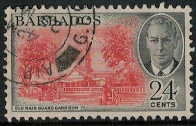 Lot 4507 - Barbados –  1950 24c red and black King George VI used stamp