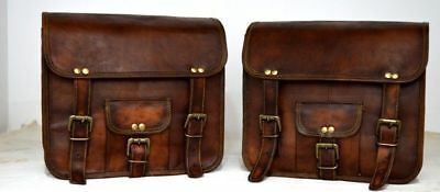 2 Brown Leather Motorcycle Side Pouch Saddlebags Saddle Bag Panniers 2Side Pouch