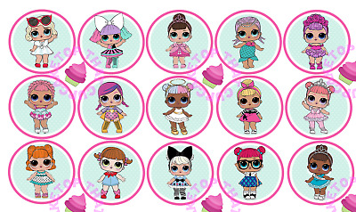 LOL Dolls EDIBLE mint & pink circle cupcake toppers images  L.O.L.birthday girls