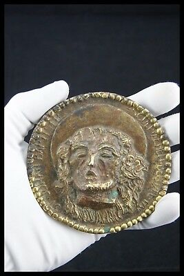 † 15-16Th Medieval Colonial Gilt Bronze John Baptist Head Germany, Netherlands ?