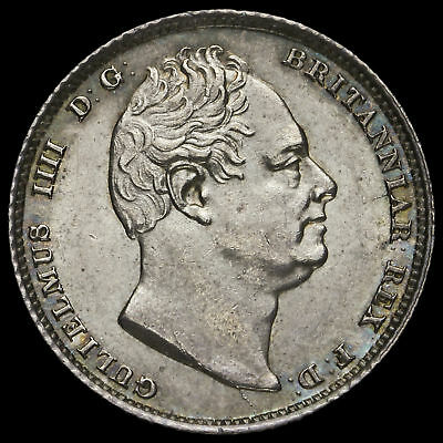 1831 William IV Milled Silver Sixpence, Uncirculated