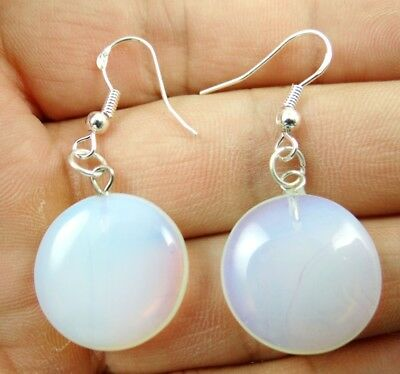 Pair Hand-carved of Round cake Opalite pendant Gemstone Earrings  X65