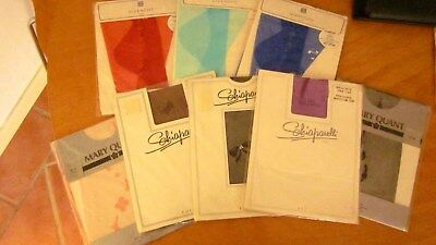 8 pairs of fab vintage 60,s coloured stockings by Givenchy,Shiaparelli and Quant