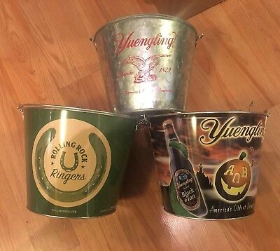 Rolling Rock Yuengling Beer Bucket Lot Of 3 Buckets Lot New