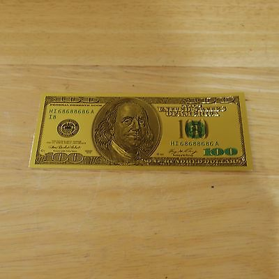 24K Gold Plated Foil $100 Dollar USA Bill Old Style 1976 Series - Used/VGC