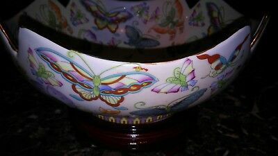 Chinese Porcelain Famille Rose Enameled Lotus Butterfly Bowl With Stand