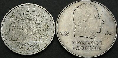 GERMANY (East) 5, 20 Mark 1972A - City of Meisen/Schiller - 2 coins - 2918 ¤