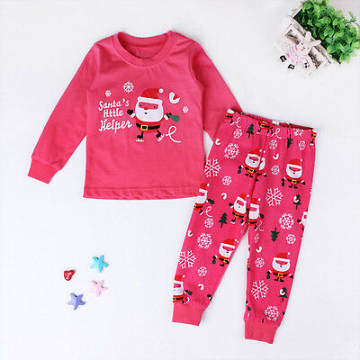 2017 Christmas Cartoon Sleepwear Kids Boys Girls Cotton Nightwear Pj's Pajamas