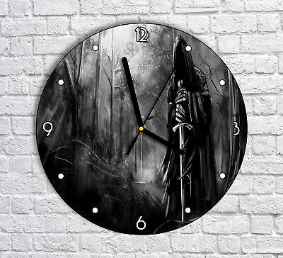 The Dark Black Knight In The Forest - Round Wall Clock For Home Office Decor