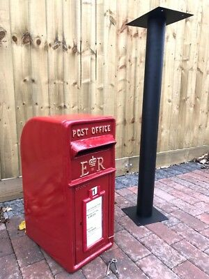 Cast Iron ER Royal Mail Pillar Red Post Letter Mail Box WITH Black Stand ARPBS
