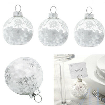 612pcs snowflake bauble christmas dinner table seating name place card holders