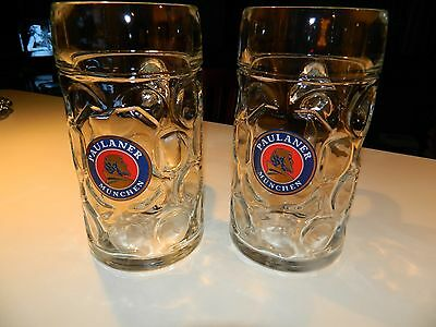 2 Large Paulaner Munchen 1 Liter Glass Mug Beer Stein - Made in Austria -