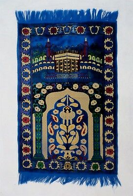 Small Vintage Turkish Nastaliq Hand Made Blue Made In Turkey Persian Rug 25 X 42