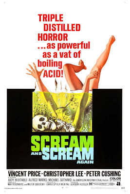1970 SCREAM AND SCREAM AGAIN VINTAGE HORROR MOVIE POSTER PRINT STYLE A 24x16