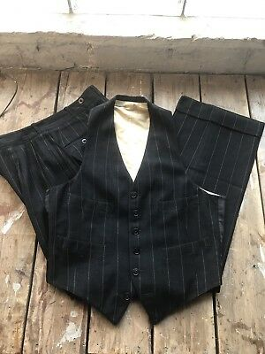 Vintage 1920s 1930s Jazz Age Vest and  Pants 30x31.5 With Cuff 2 Inches