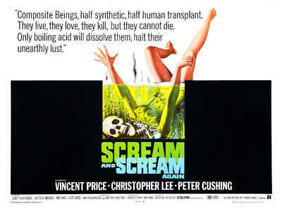 1970 SCREAM AND SCREAM AGAIN VINTAGE HORROR MOVIE POSTER PRINT STYLE B 36x48