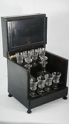 Antico Mobiletto Bar Brandy Antique Travelling Small Alcoholic Drinking Wood Set