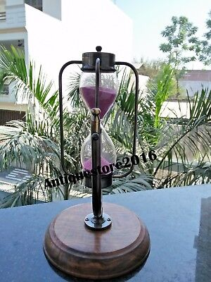 Nautical brass sand timer wooden base collecticble 5 minute Black Antique Gift