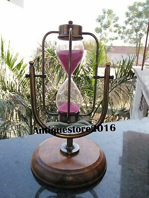Antique Sand Timer Brass Hour Glass Nautical Decoratives With Wooden Base Gift