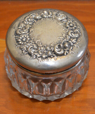Antique Art Nouveau Floral Sterling Silver and Cut Glass Powder Vanity Jar