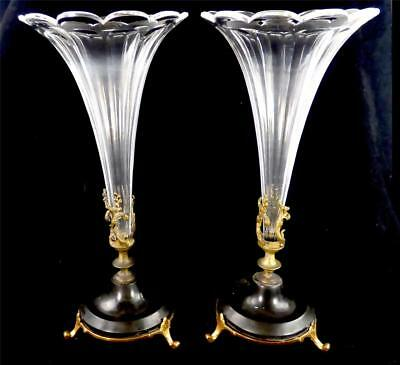 Pair Antique Late 19Th Century Brass Hardstone & Facet Cut Glass Epergnes Flutes