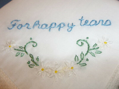 wedding handkerchief, daisy hankie, for happy tears, something blue, hand embroi