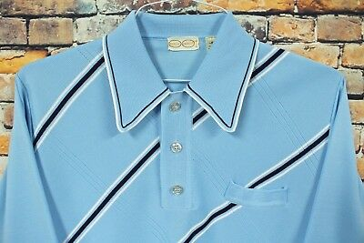 Vtg 70s ENRICO CAPUCCI Long Sleeve Shirt MEDIUM Baby Blue Striped Polyester Mod