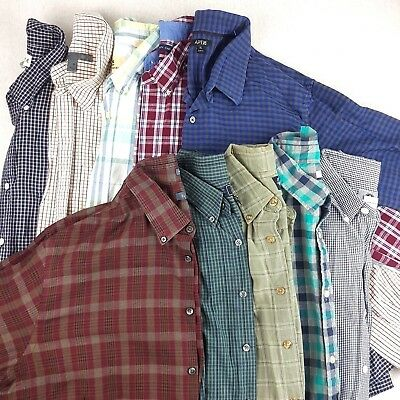 Wholesale Lot of 10 Shirts Men's Button Down Long Sleeve Plaid Checked Size XL