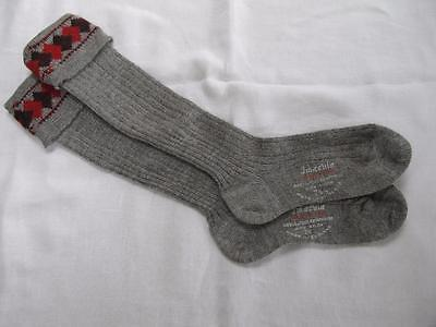VINTAGE 1940's WW2 ERA GREY & RED BOY'S SCHOOL EVACUEE SOCKS - SIZE 7½""
