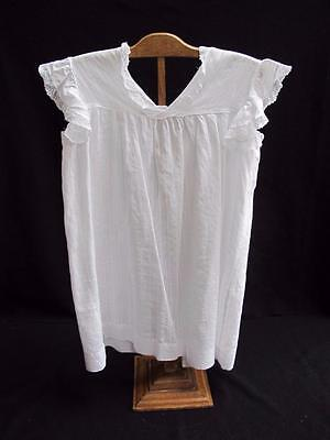 ANTIQUE VICTORIAN GIRL'S  WHITE STRIPED LAWN & LACE APRON PINNY PINAFORE c1890