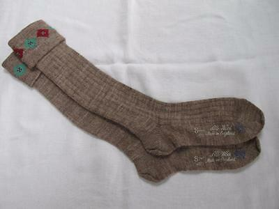 VINTAGE 1940's WW2 ERA CC41 UTILITY MARK BROWN BOY'S SCHOOL EVACUEE SOCKS - 8""