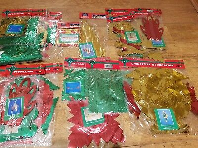 12 x Vintage 1980s 1990s Christmas Foil Decorations Ceiling Hanging Garlands