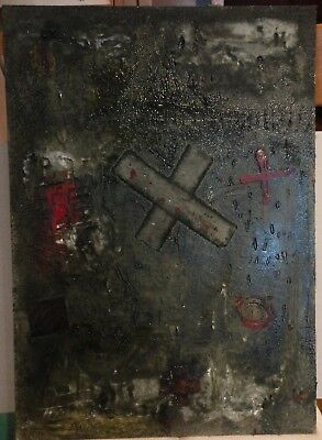 Vintage Abstract Painting Signed Antoni Tapies,  Modern Old 20th Century Art