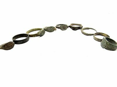 Lot Of 9 Roman / Medieval Bronze Rings For Cleaning - Wearable Superb - P861