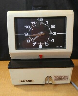 Amano 3636 Electric Time Card Punch Clock Recorder System 3636 Series 120V W/KEY