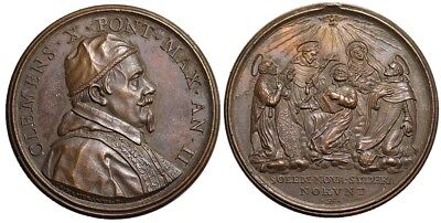 M- Rome, Clement X, Medal AN II (1671), Canonization of five Saints, AE, ms21