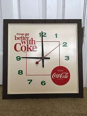 THINGS GO BETTER WITH COKE!  COCA COLA VINTAGE 60'S 70'S CLOCK Excellent, works