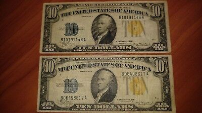 2 Note Lot - $10 1934A North Africa Silver Certificate Notes
