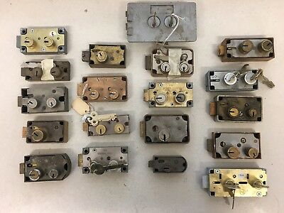 Lot of 19 Mixed Vintage Antique Safe Deposit Bank Locks Yale Diebold S&G Mosler