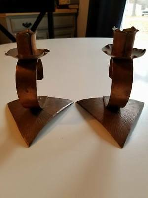 Vintage Arts & Crafts Period Solid Copper Candle Holders Pair