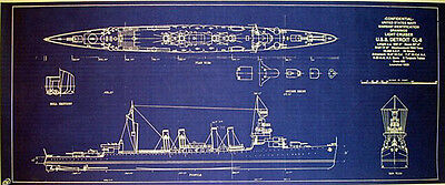 WW2 US NAVY Light Cruiser USS Detroit CL8 Print Blueprint Plan 12x26 (157)