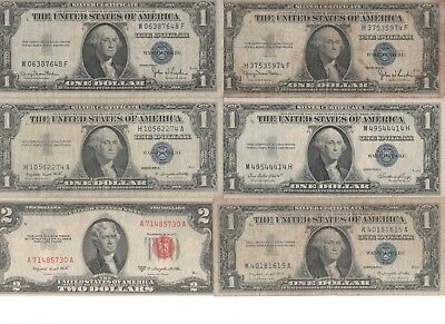 Lot Of 5 One Dollar Silver Certificate Notes & 1 Two Dollar Bill Legal Us Money