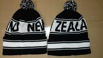 New Zealand Pom Pom Football Rugby Beanie Hat Woolly Hat Knitted Pom Pom Hat