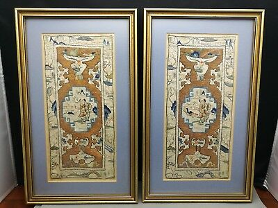 A pair of  19th  Antique Old Chinese embroidery Silk Textiles , Highly collectab