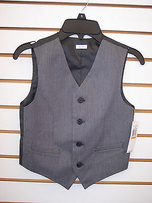 Boys Calvin Klein $39.50 Light Gray w/ Pin Striped Back Vest Size 8 - 18/20