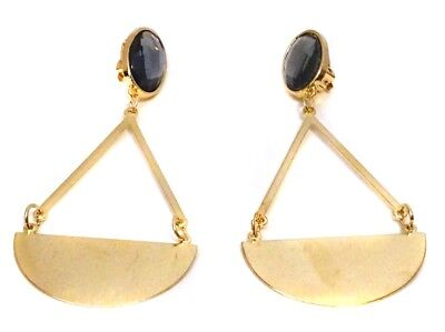 Clip-On Earrings Drop Gold Or Silver Dangle Assorted Colors 3.5 Inch Long