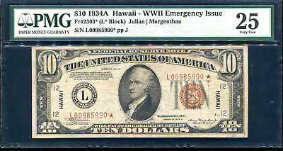 "Fr. 2303* 1934-A $10 *star* ""Hawaii"" Frn Federal Reserve Note Pmg Very Fine-25"