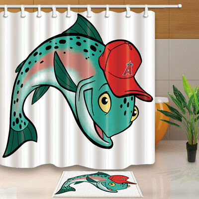 Cartoon Whale Wearing Red Hat On White Backdrop Bath Fabric Shower Curtain71Inch
