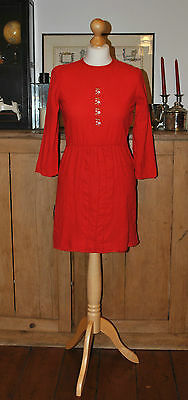 Ladies Vintage Red Embroidered Detail Dress Size Possible Uk10 ?